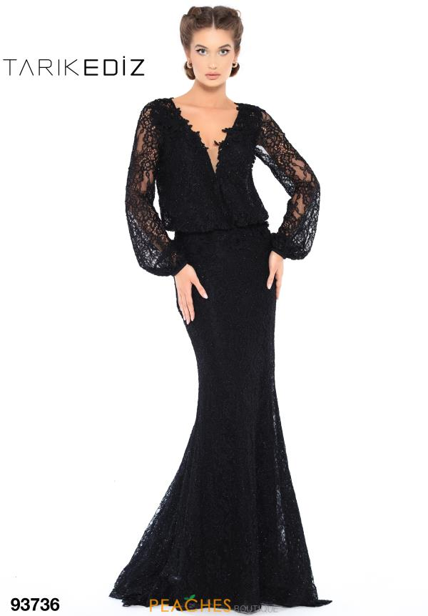 Tarik Ediz V- Neckline Lace Dress 93736