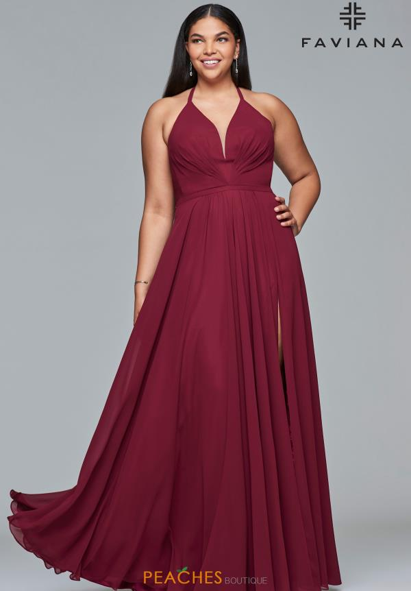 Faviana Full Figured Halter Dress 9397