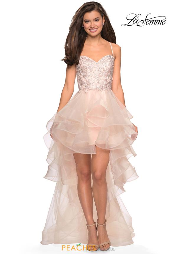 La Femme Lace High Low Dress 27466
