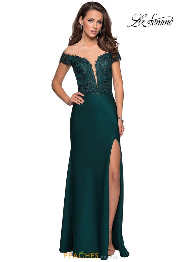 La Femme Long Fitted Dress 27097