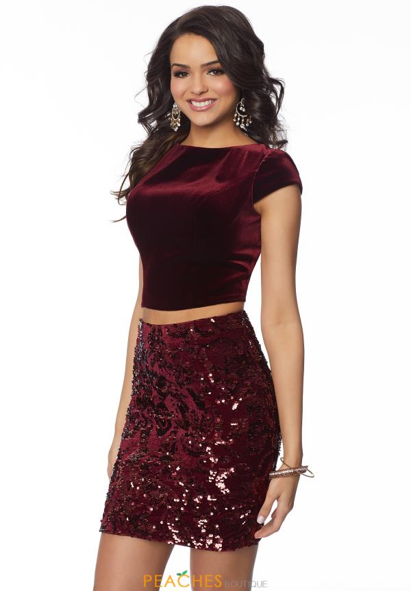 Mori Lee Sticks & Stones Velvet Two Piece Dress 33080