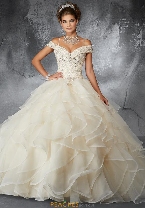 Valencia Quinceanera Cap Sleeved Beaded Gown 60059