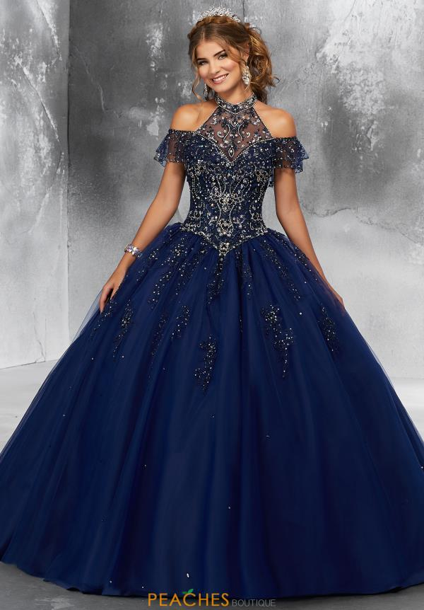 Vizcaya Quinceanera Cap Sleeved Beaded Gown 89183