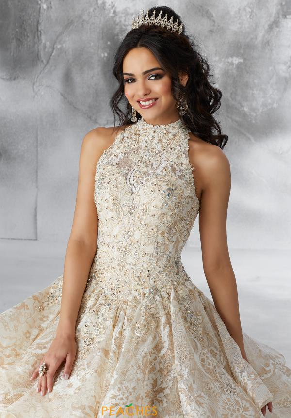 Vizcaya Quinceanera High Neckline Lace Gown 89184