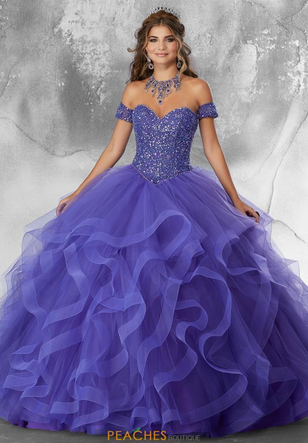Vizcaya Quinceanera Ruffled Tulle Skirt Gown 89185
