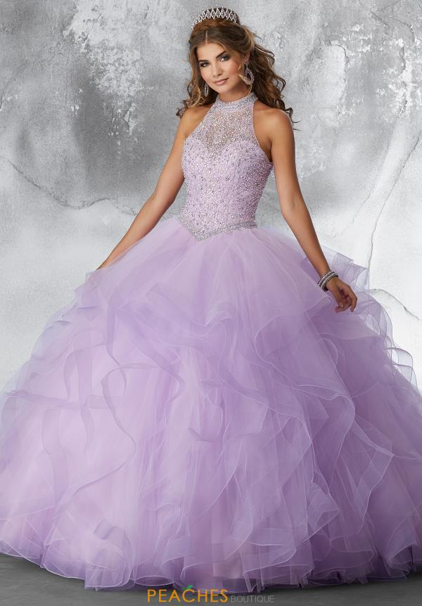 Vizcaya Quinceanera Beaded High Neckline Gown 89189