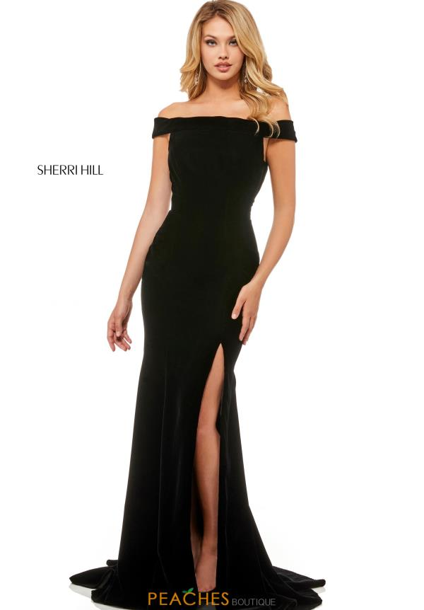 Sherri Hill Off the Shoulder Fitted Dress 52180