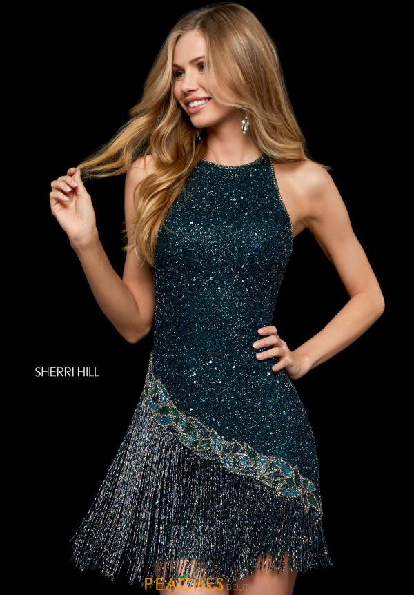 Halter Sherri Hill Short Beaded Fringe Dress 52131