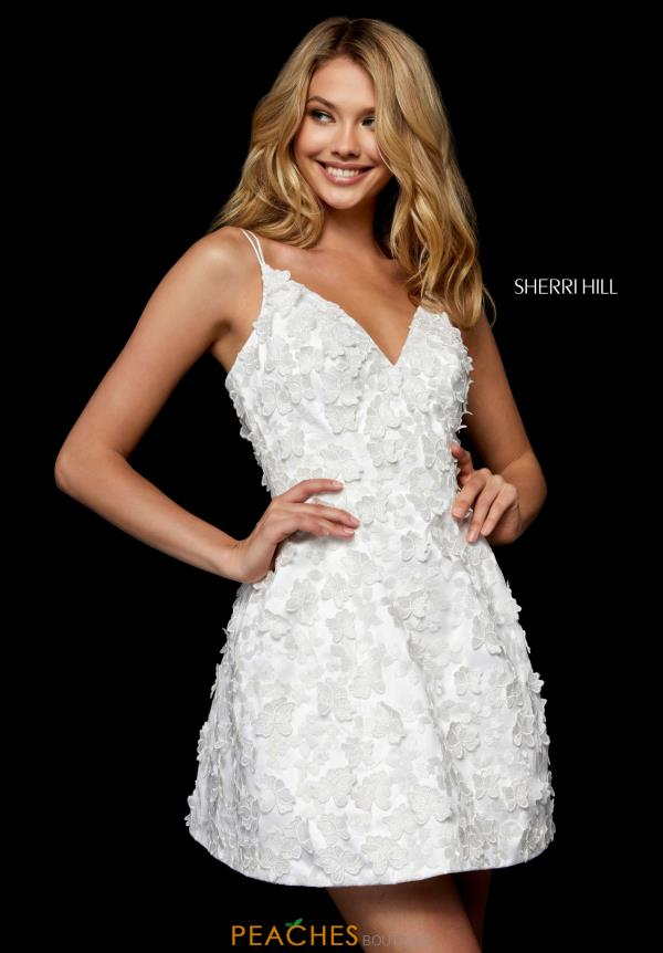 Sherri Hill Short Floral Applique Dress 52198