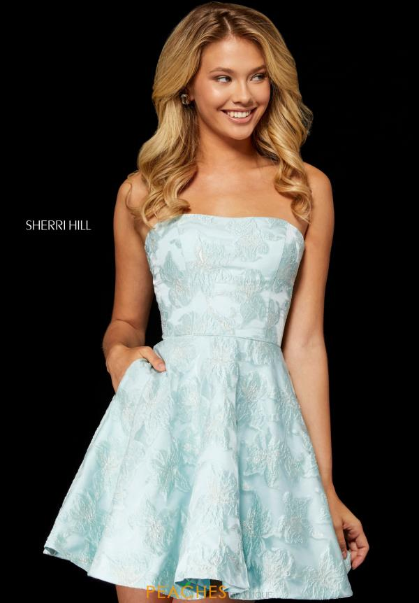 Sherri Hill Strapless Short Brocade Print Dress 52337