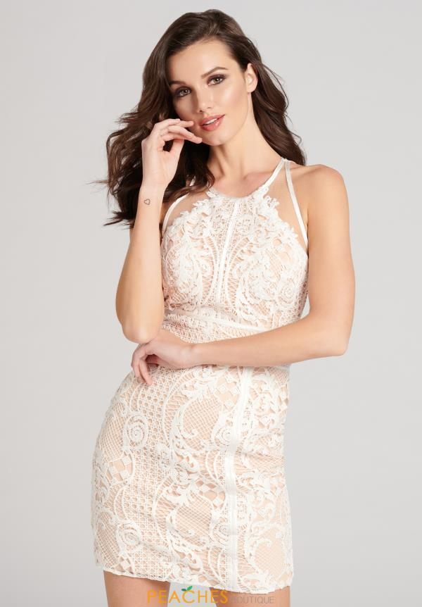 Halter Ellie Wilde Lace Short Dress EW21869S