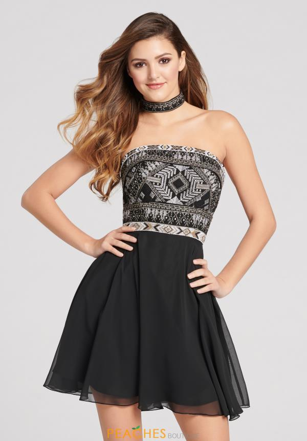 Strapless Ellie Wilde Short A Line Dress EW21877S
