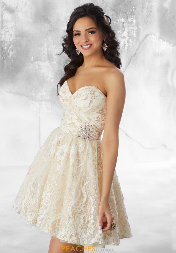 Mori Lee Sticks & Stones Strapless Lace Dress 9481