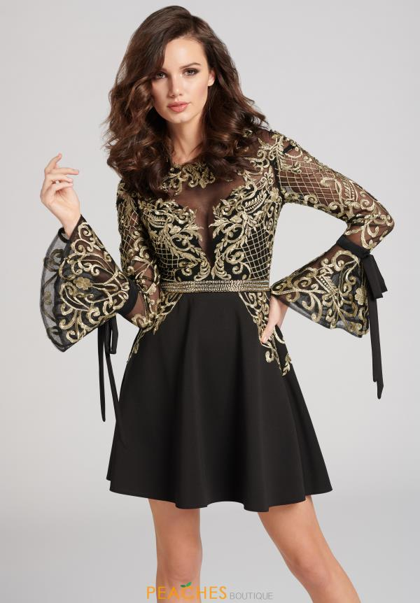 Ellie Wilde Bell Sleeve Short Dress EW21823