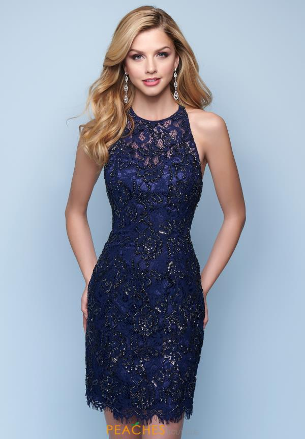Splash Lace High Neckline Dress E236