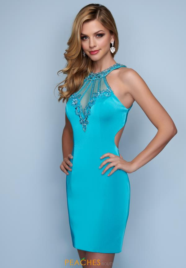 Splash Beaded Openback Dress E244