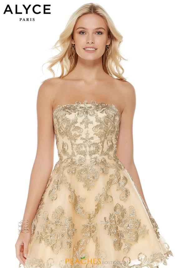 Alyce Paris Strapless Lace Dress 3762