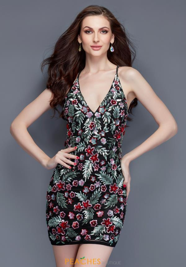 Primavera Embellished V Neckline Dress 3155
