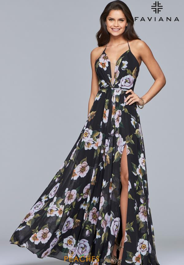 Faviana Print A Line Dress 7946