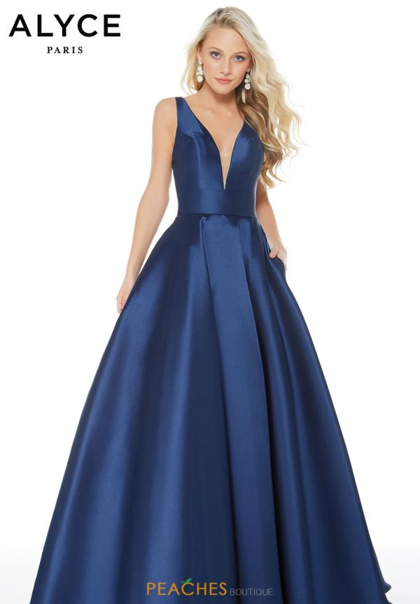 Alyce Paris V- Neckline A Line Dress 60253