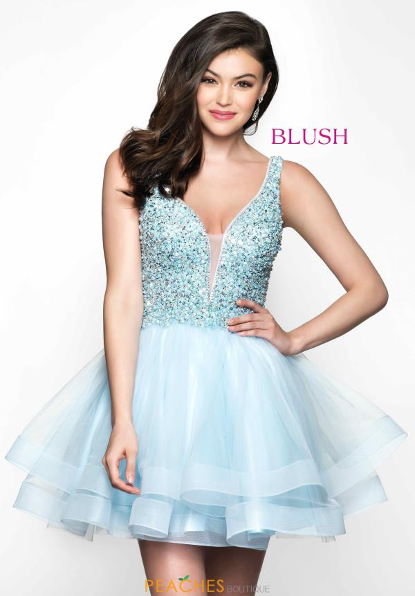 V Neck Blush Tulle A Line Dress 11612