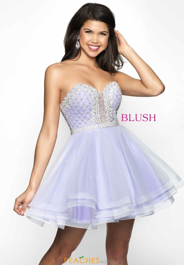 Strapless Embellished Blush Dress 11622