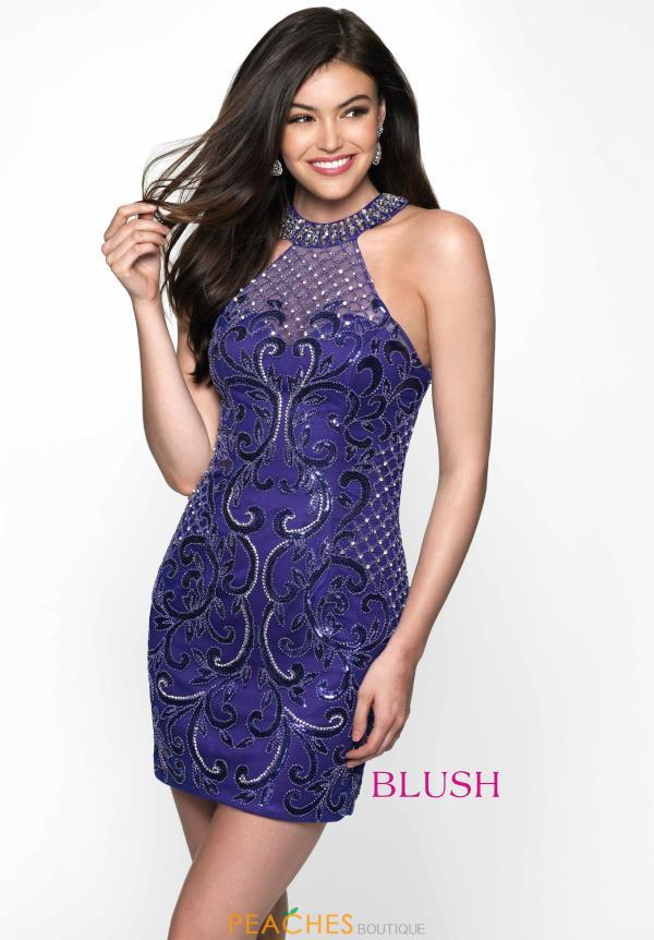 Sparkling Haltered Blush Dress B100
