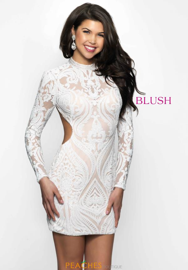 Long Sleeve Sequin Blush Dress B114