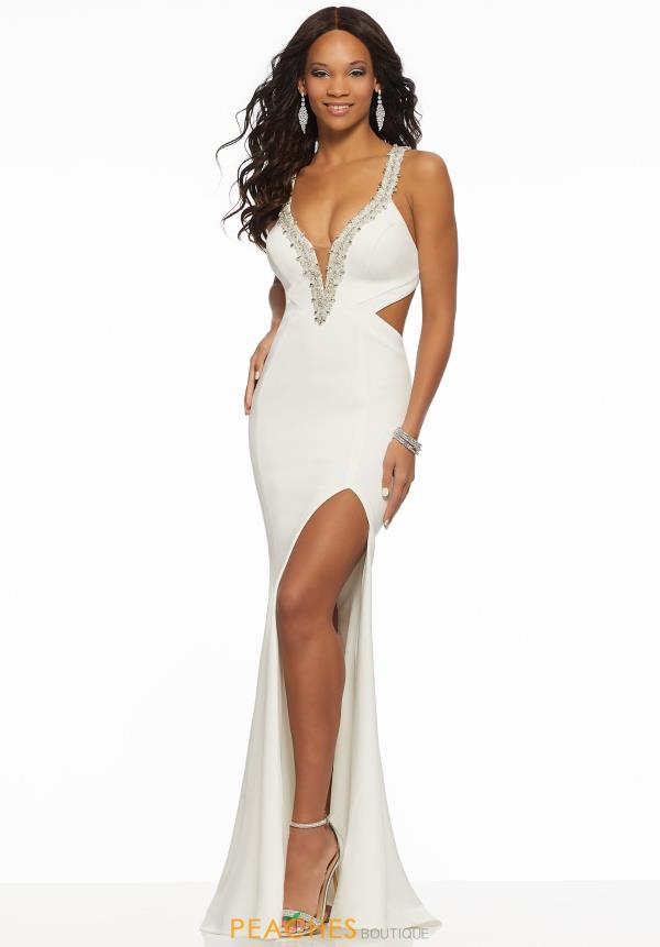 Mori Lee V-Neck Jersey Dress 43066