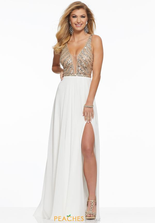 Mori Lee V-Neck Beaded Dress 43067