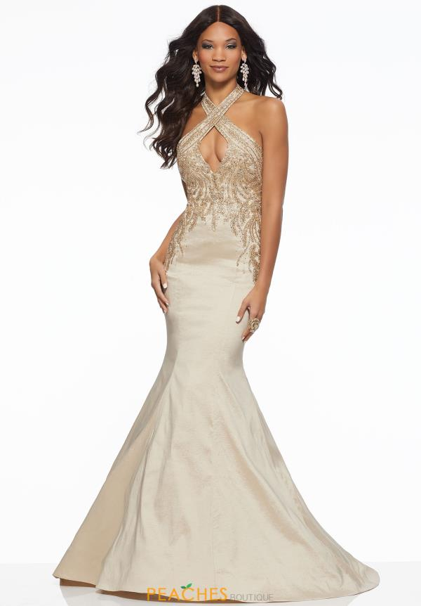 Mori Lee Halter Beaded Dress 43071