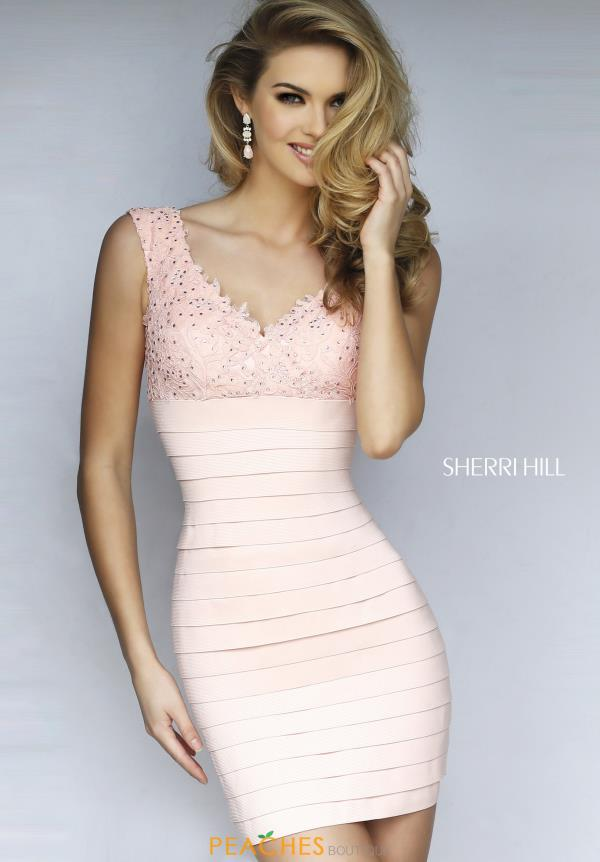 Sherri Hill V-Neckline Cocktail Dress 32334