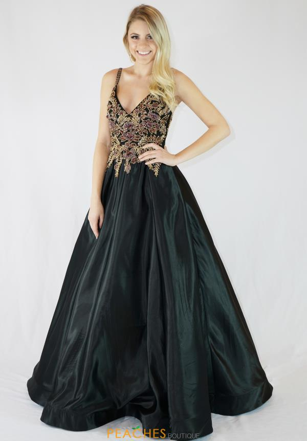Milano Formals Long Black Dress E2765