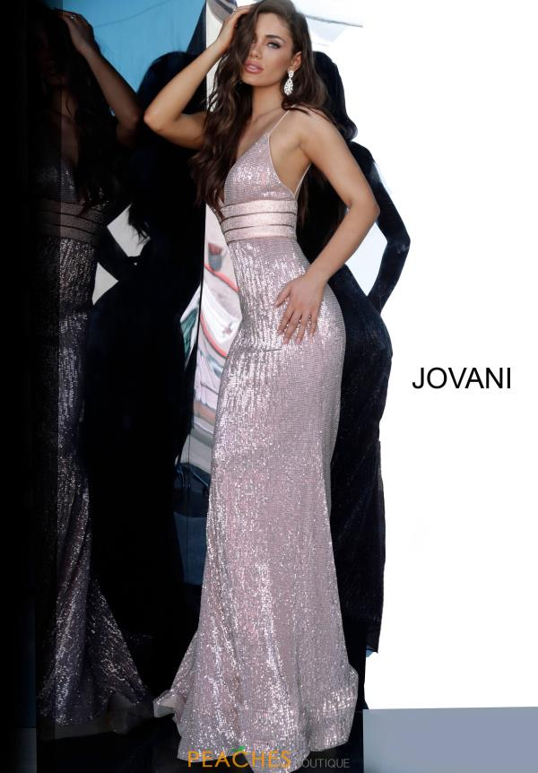 Jovani V-Neck Sequins Dress 4697