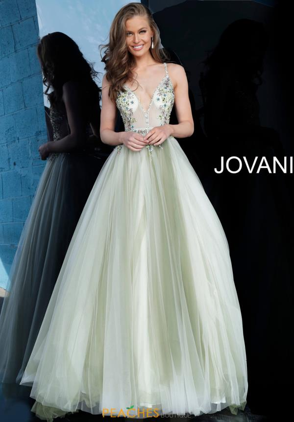 Jovani V-Neck Tulle Dress 66352