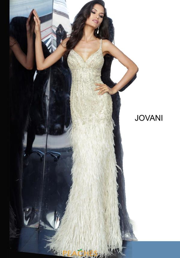 Jovani V-Neck Feather Dress 68827