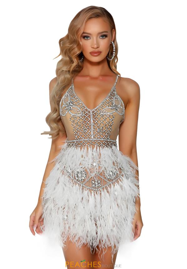 Portia and Scarlett Beaded Feather Dress PS4007C