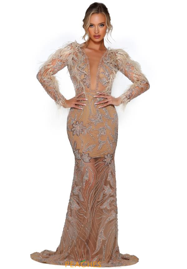Portia and Scarlett Long Beaded Dress PS5030C
