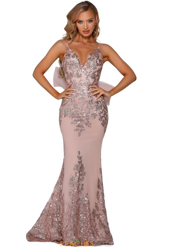 Portia and Scarlett Beaded Rose Gold Prom Dress PS6090