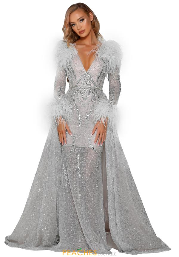 Portia and Scarlett Silver Beaded Prom Dress PS6092