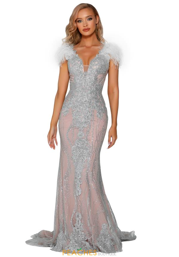 Portia and Scarlett Feather Cap Sleeve Prom Dress PS6095