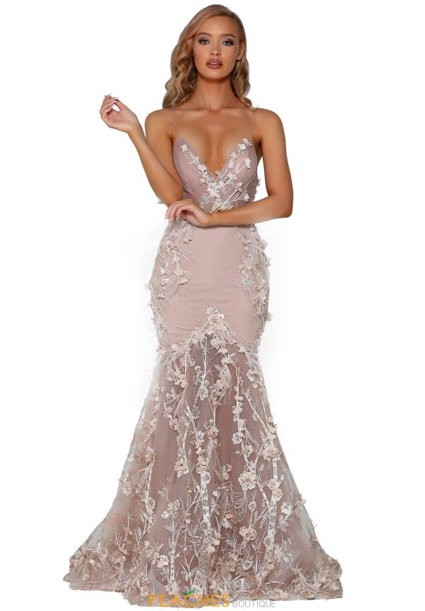 Portia and Scarlett Long Feather Prom Dress PS6097
