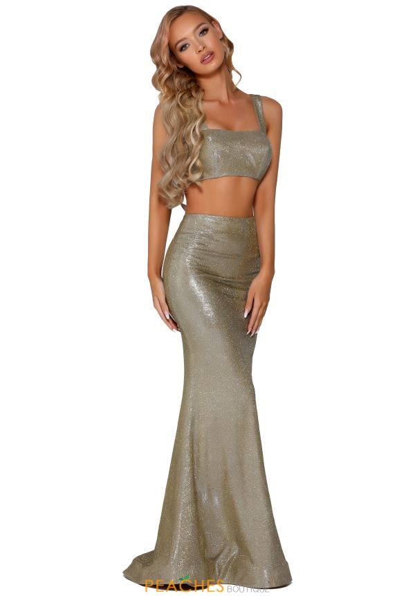 Portia and Scarlett Long Gold Prom Dress PS6402