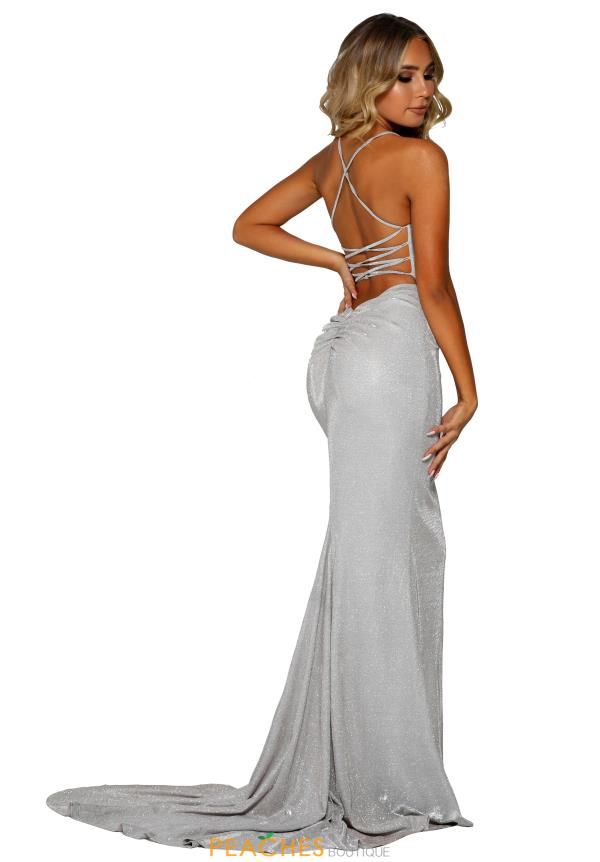 Portia and Scarlett Long Silver Prom Dress PS6407