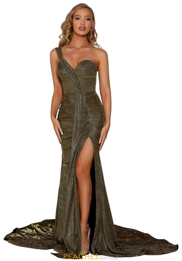 Portia and Scarlett Gold Single Shoulder Prom Dress PS6414