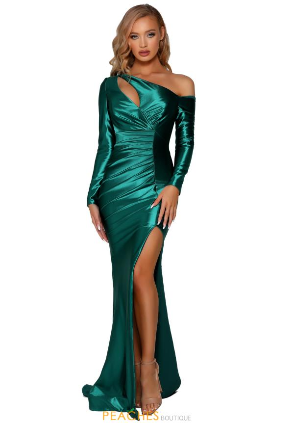 Portia and Scarlett Emerald Long Sleeve Prom Dress PS6418