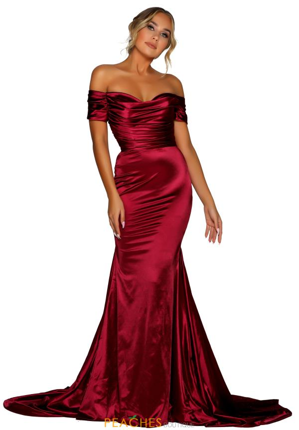 Portia and Scarlett Fitted Deep Red Prom Dress PS6424