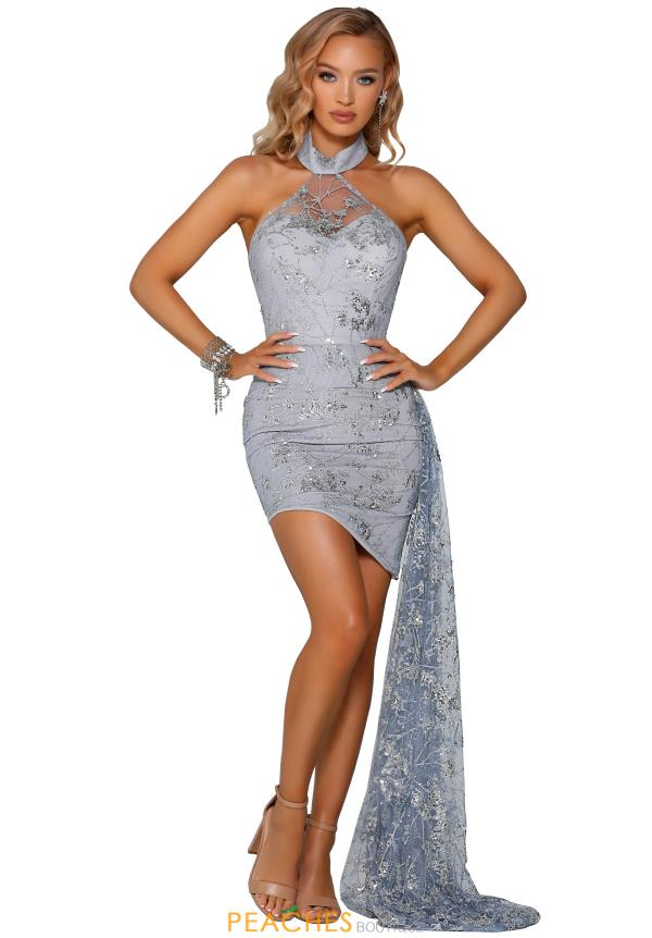 Portia and Scarlett Short Silver Prom Dress PS6435