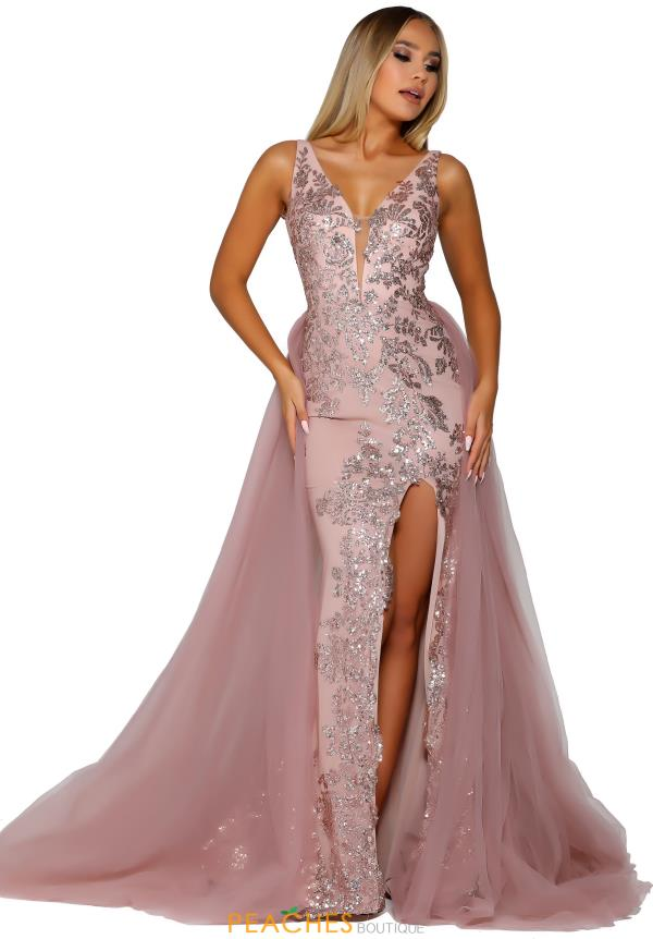 Portia and Scarlett Rose Gold Glitter Prom Dress PS6501