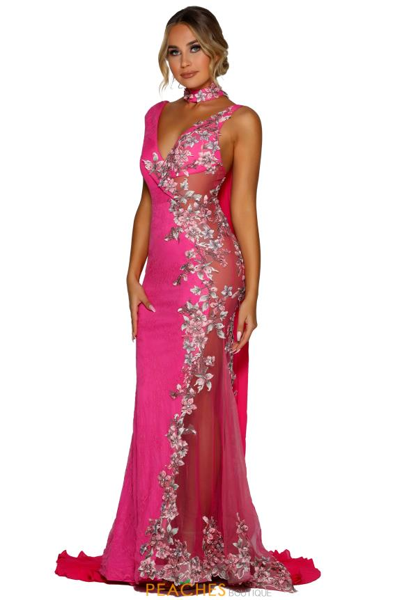 Portia and Scarlett Hot Pink Lace Prom Dress PS6821
